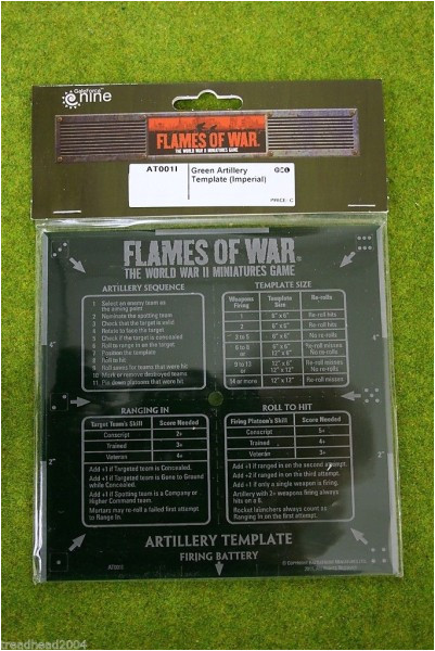 flames of war green artillery template imperial 15mm at0011