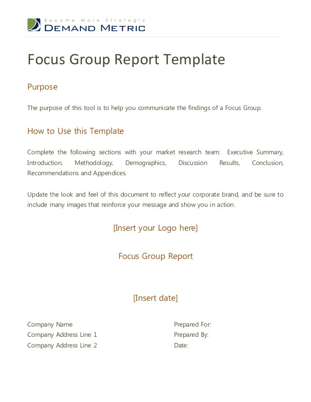 Focus Group Discussion Report Template Focus Group Report Template