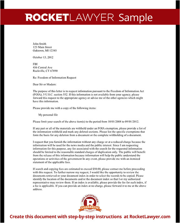 Foia Request Template Freedom Of Information Request Letter Template with Sample