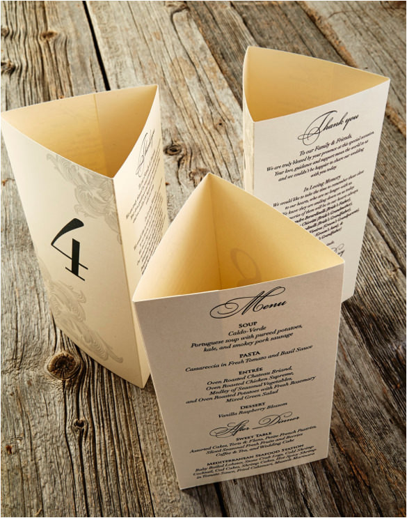 sample tri fold menu