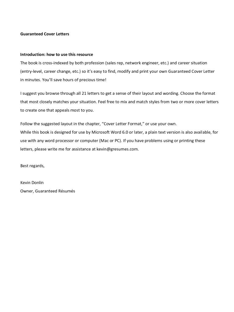 plain text cover letter samples