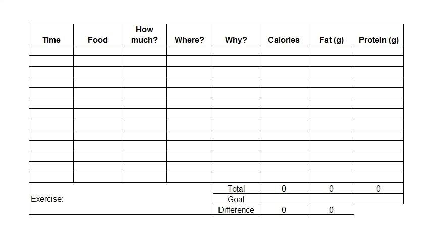 food diary templates
