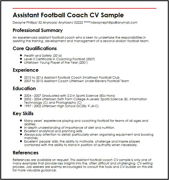 assistant football coach cv sample