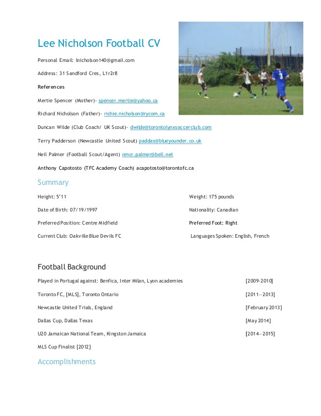 lee nicholson football cv