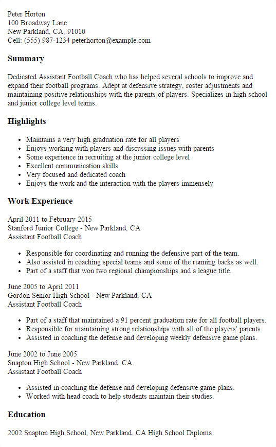 assistant football coach