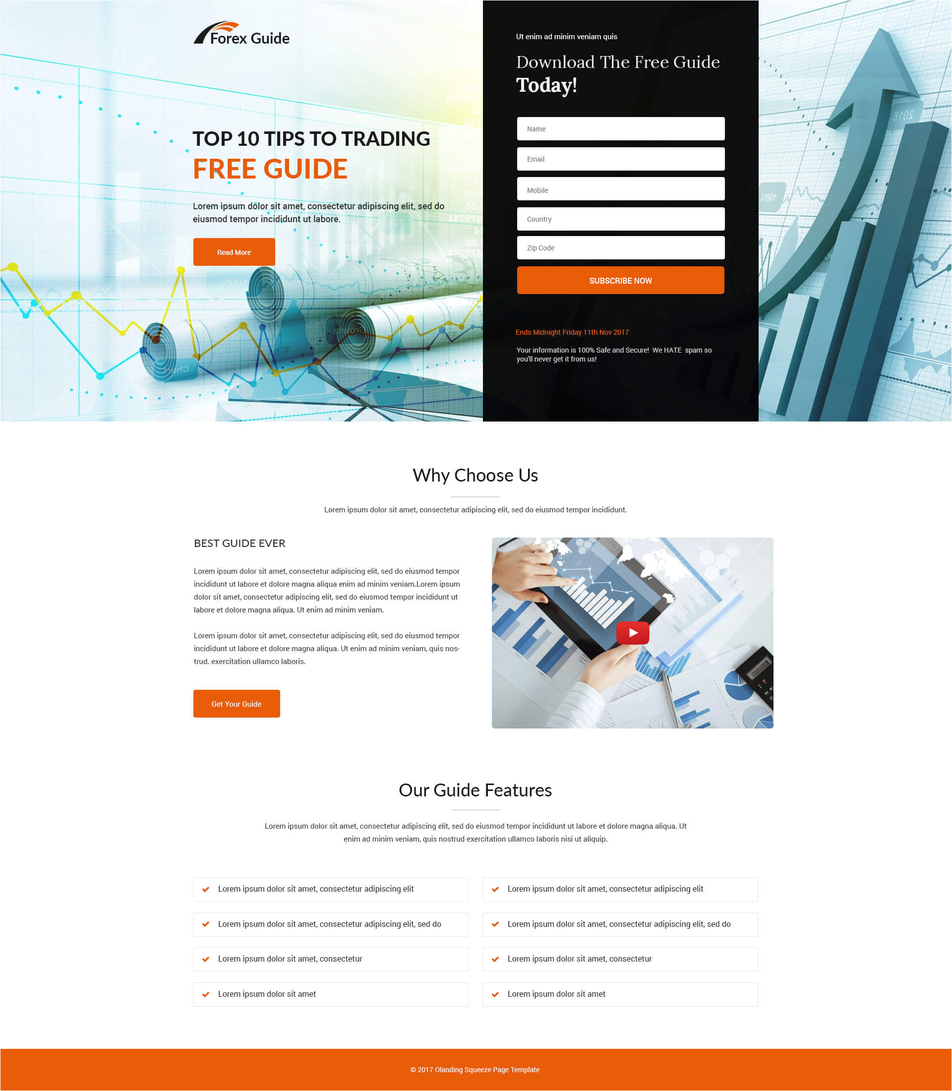 forex guide landing page design template to boost your trading business conversion