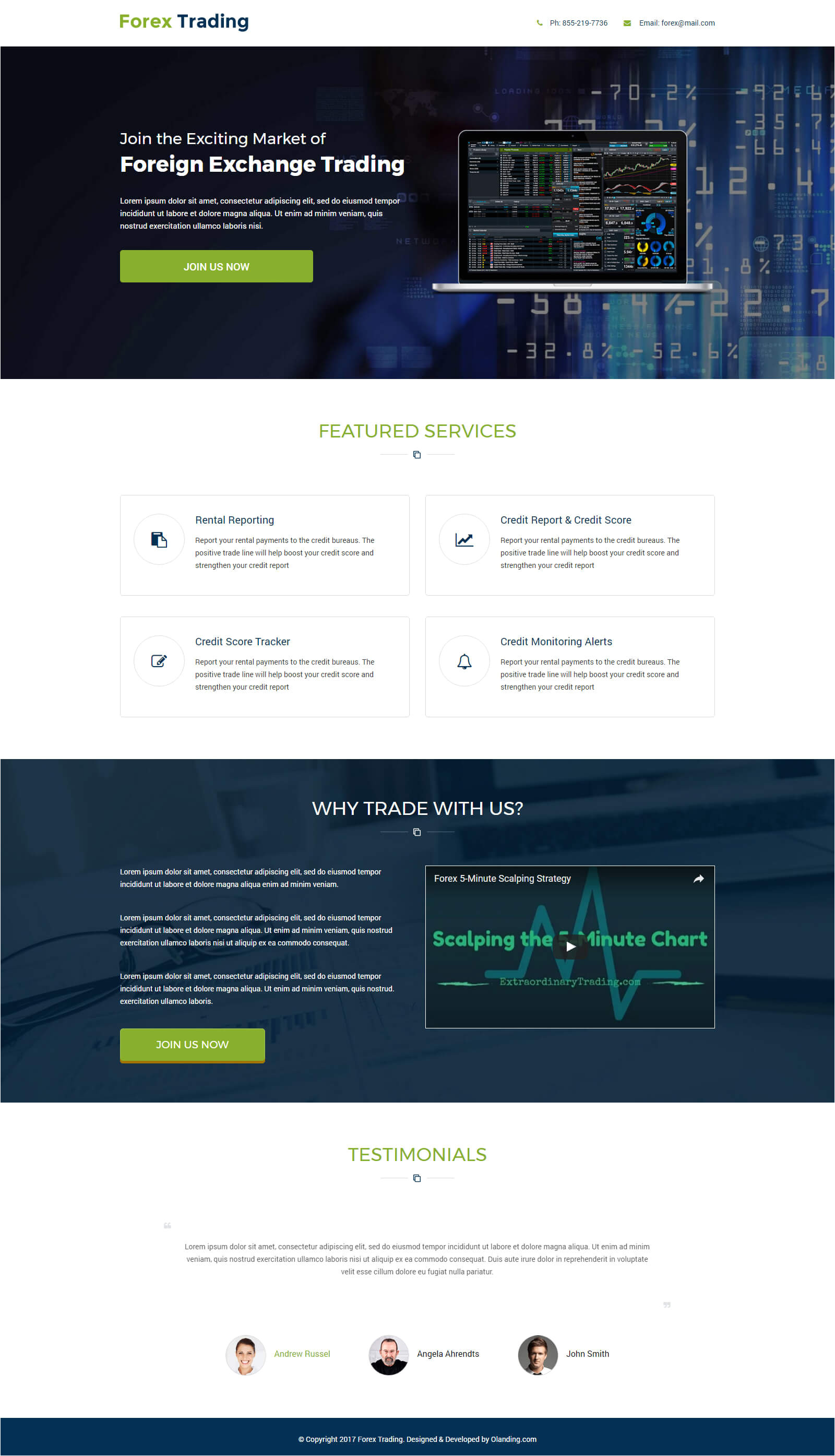 forex trading responsive landing page with free landing page builder