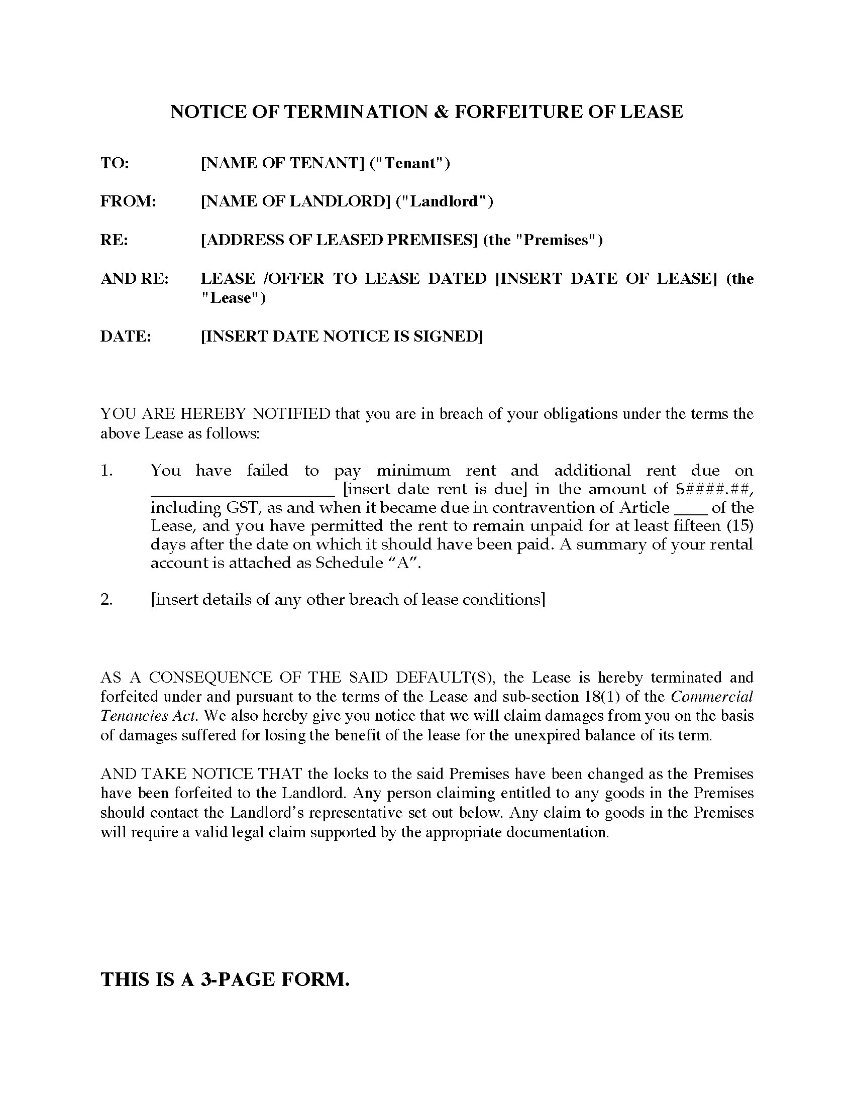 Forfeiture Notice Template Ontario Notice Of Termination and forfeiture Of Lease