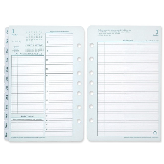 franklin covey monarch planner refill green page