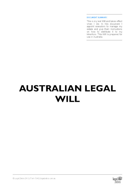 Free Australian Will Template Australian Online Legal Templates Advice Legal Zebra