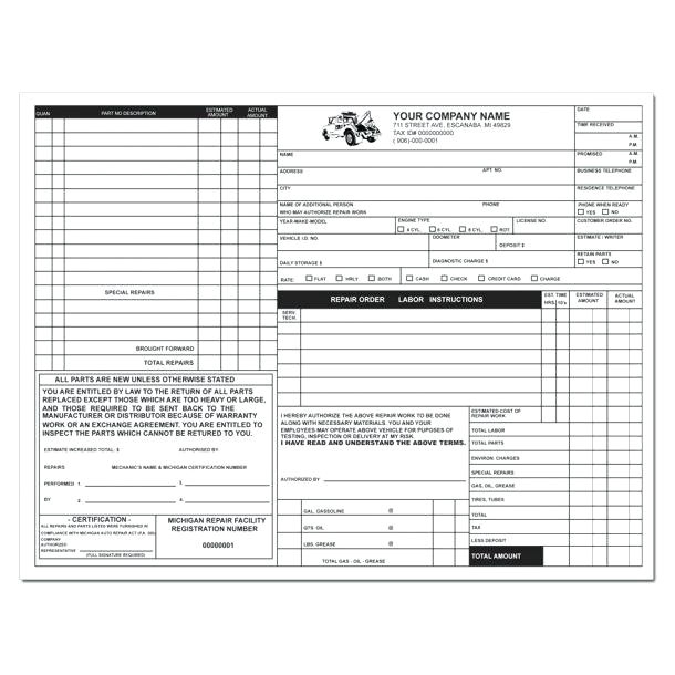 printable auto repair receipt printable auto repair invoice template