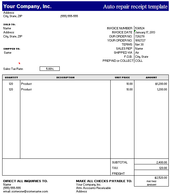 view receipts page 22