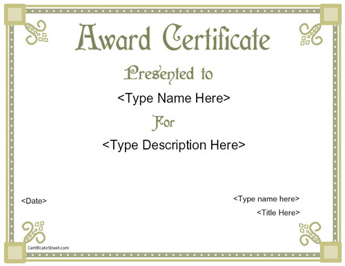award templates free pprintable