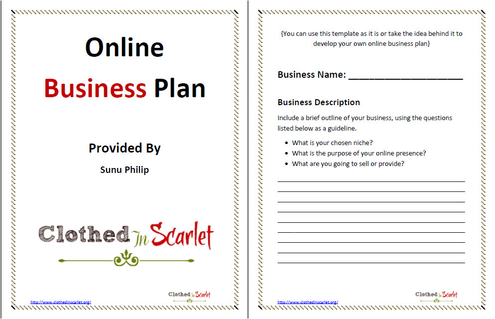 day 5 online business plan template free download