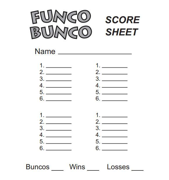 bunco score sheets template