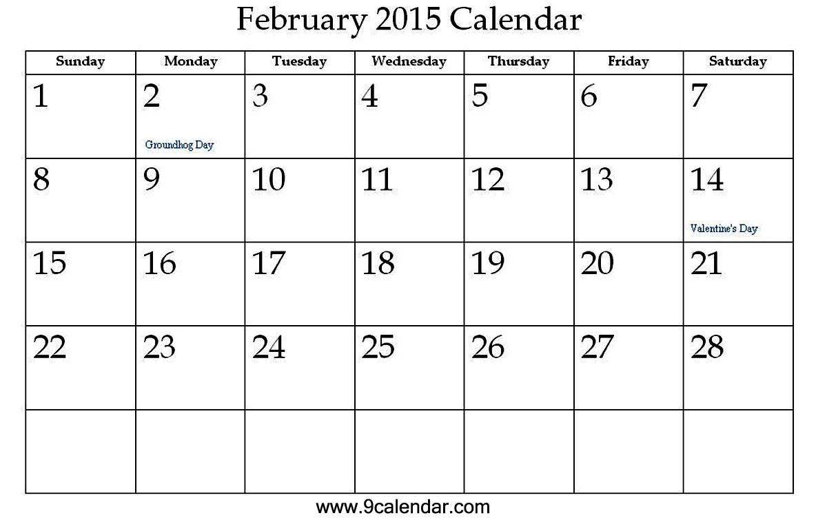 post cute free printable 2016 february 2015 blank calendars 387960