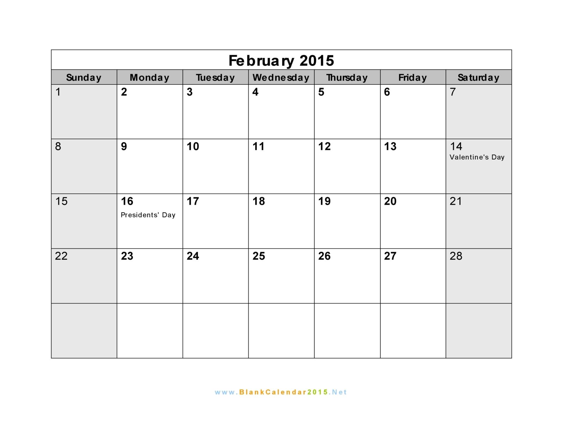 Free Calendar Template February 2015 Calendar 2015 Template 2017 Printable Calendar