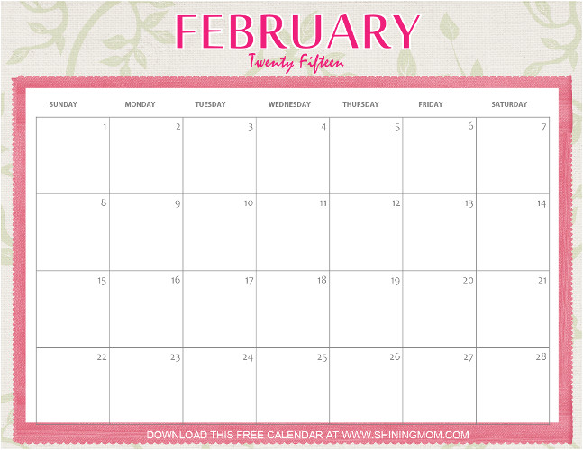 designs youll love free printable february 2015 calendar