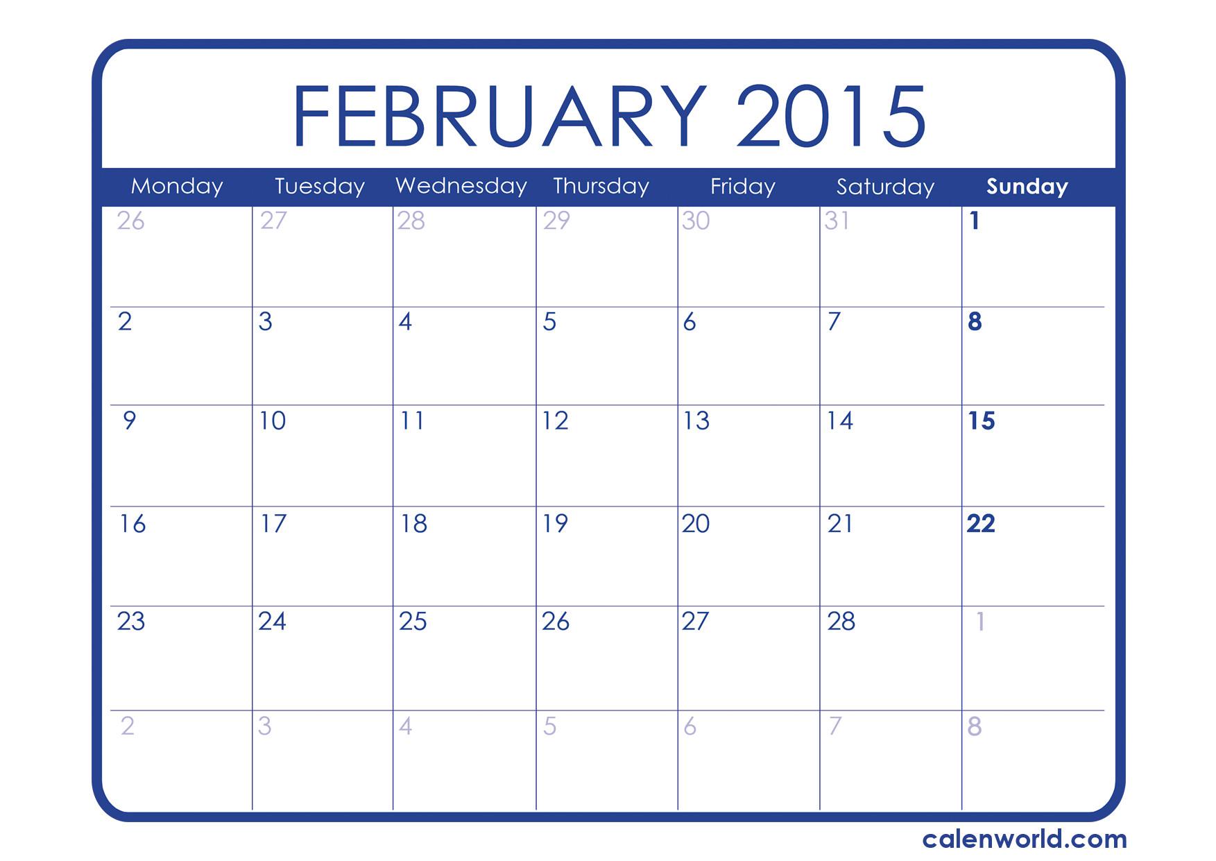 Free Calendar Template February 2015 February 2015 Calendar Printable Calendars