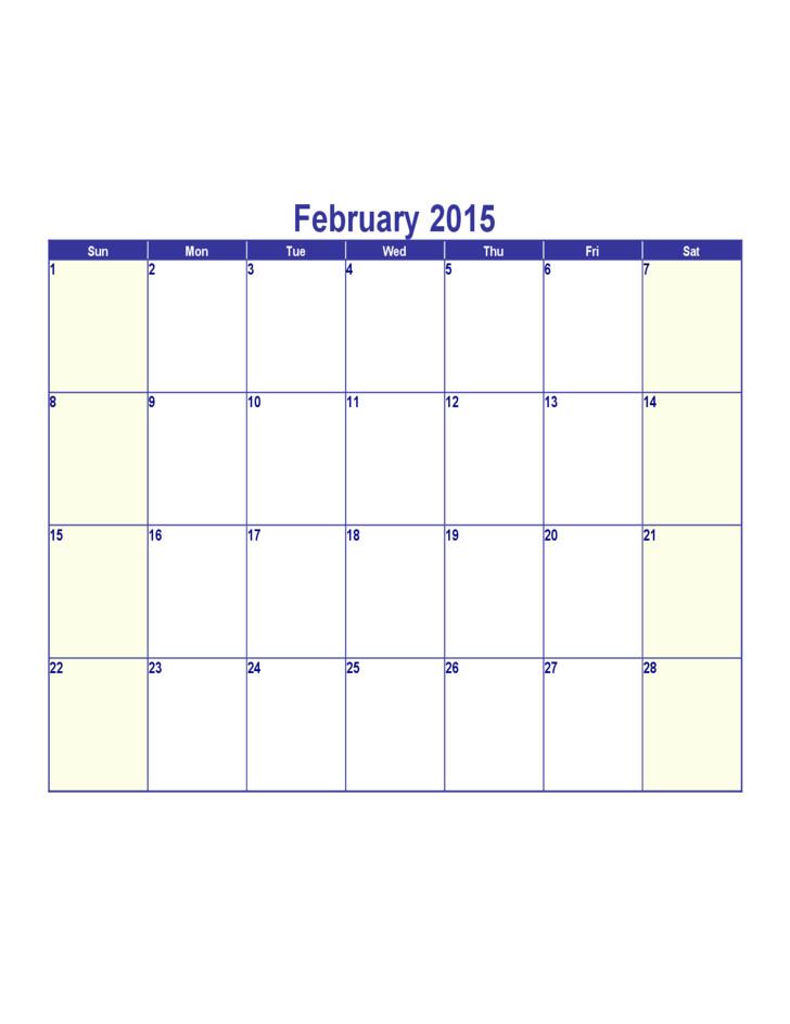 free february 2015 calendar template