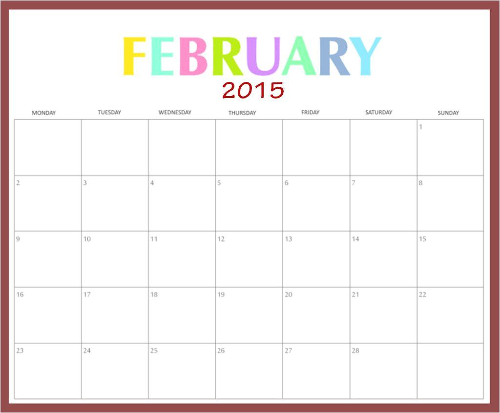 free printable calendar february 2015 shtml