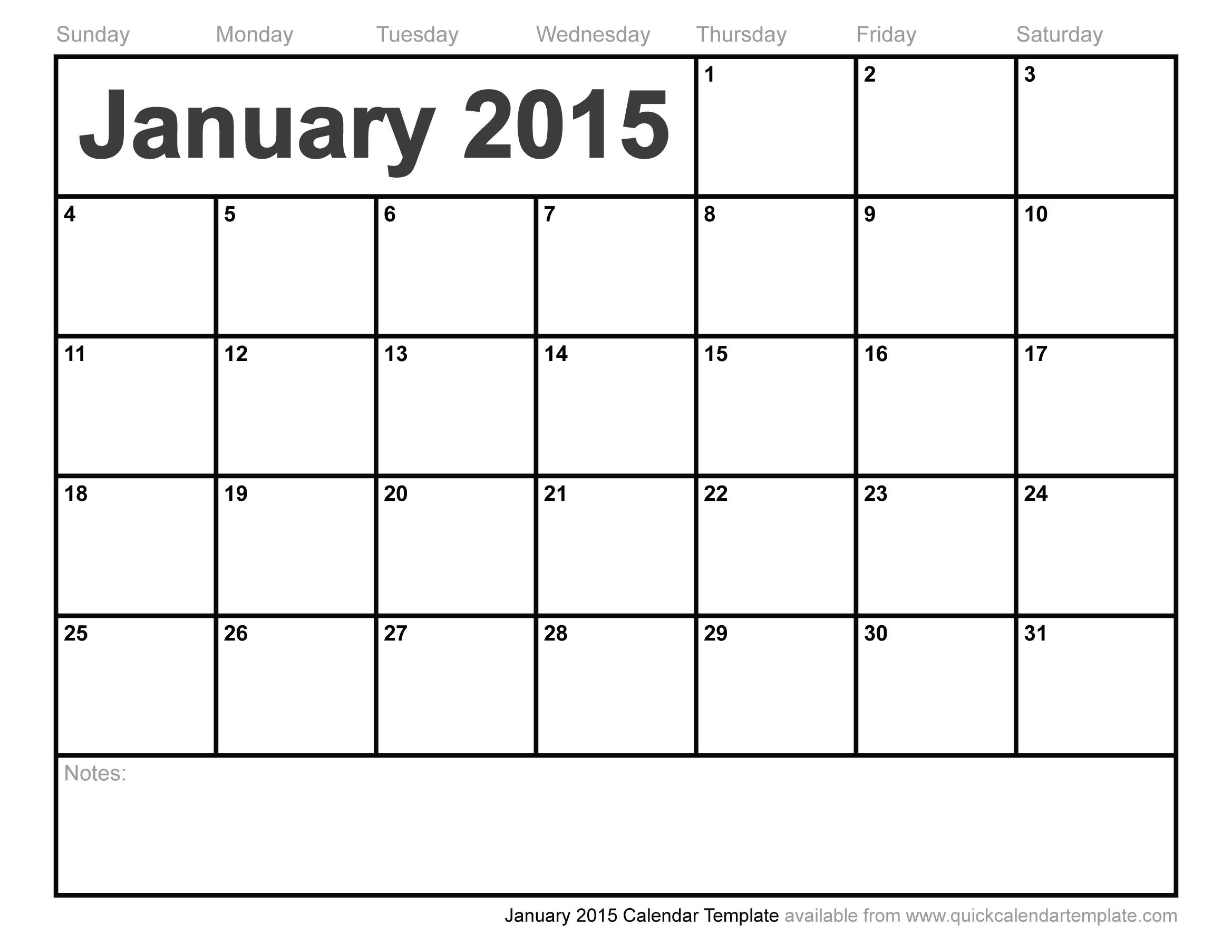 calendar template month january year 2015