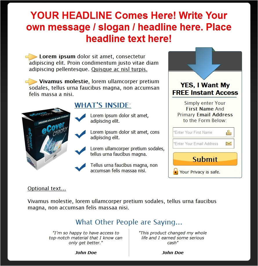 Free Capture Page Templates Free Capture Page Templates Downloads Reducethehype Com