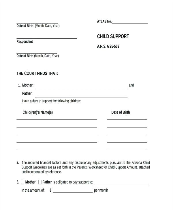child support receipt form
