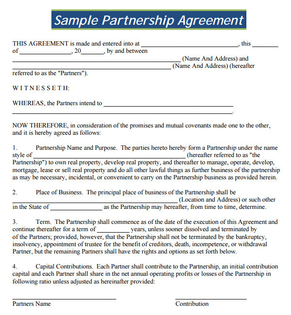 Free Contract Templates for Small Business 16 Partnership Agreement Templates Sample Templates