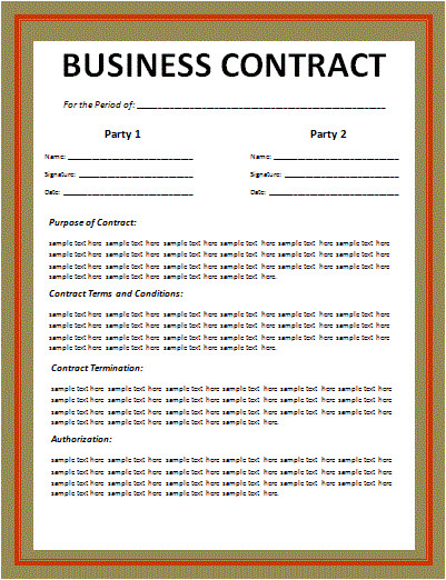 Free Contract Templates for Small Business Business Contract Layout Free Word Templates