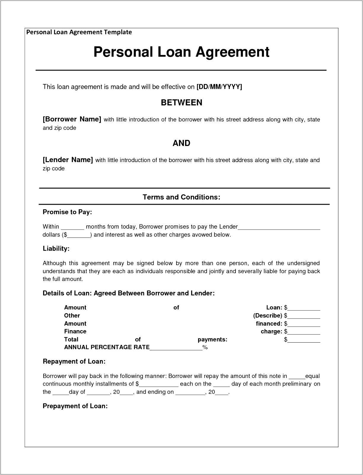 Free Contract Templates for Small Business Small Business Loan Contract Template Examples Agreements