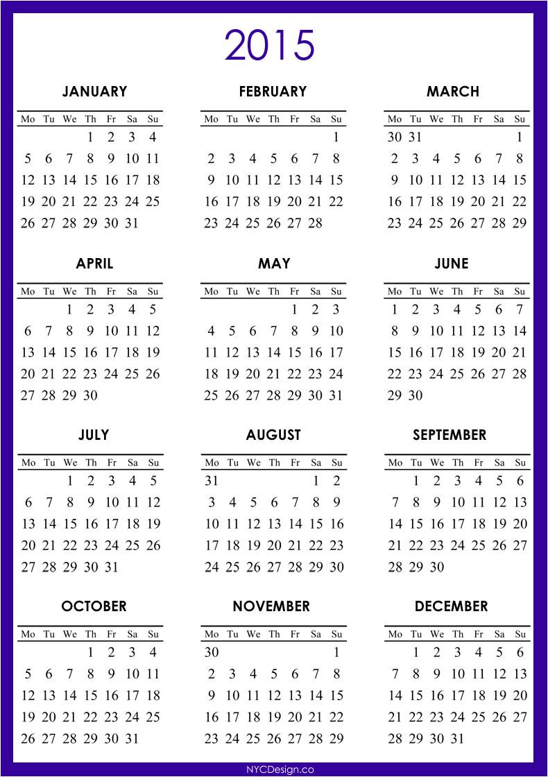 printable 2015 calendar