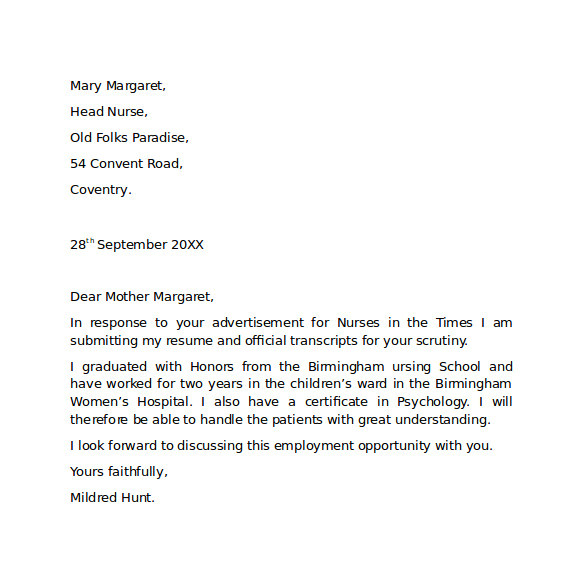 Free Examples Of Cover Letters for Employment 10 Employment Cover Letter Templates Samples Examples