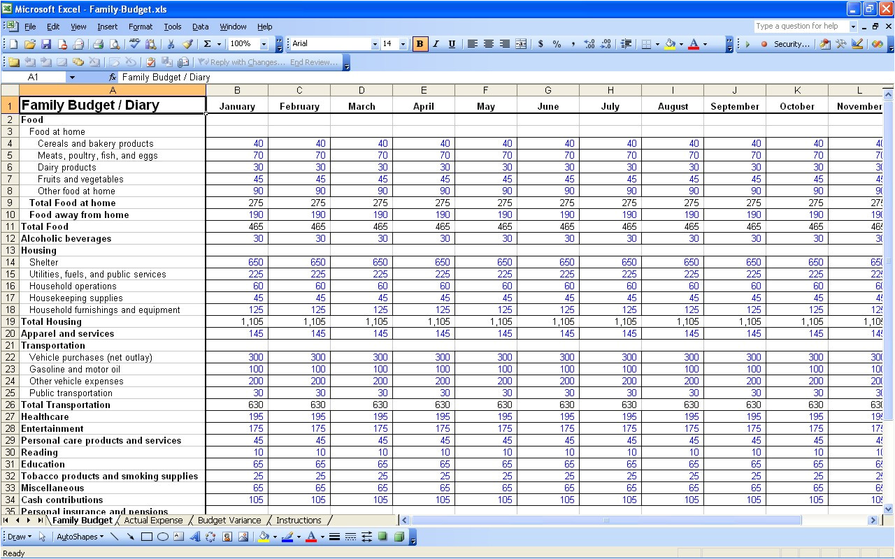 yearly budget template excel free 1236