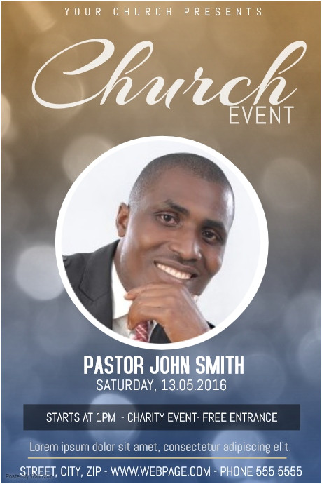 church event with one photo poster template