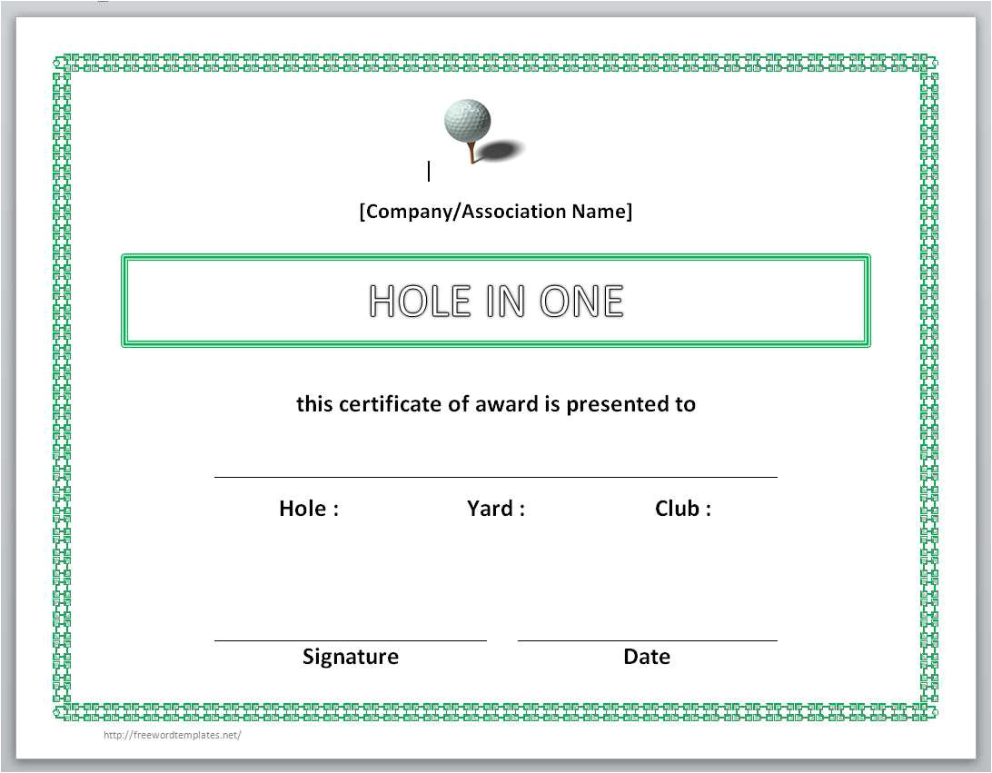 Free Hole In One Certificate Template 13 Free Certificate Templates for Word Microsoft and