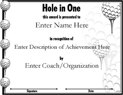 Free Hole In One Certificate Template Award Certificate Templates