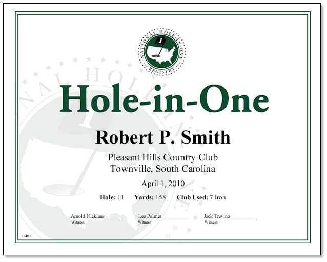 Free Hole In One Certificate Template Hole In One Award Certificate Only 18 00 Certificates