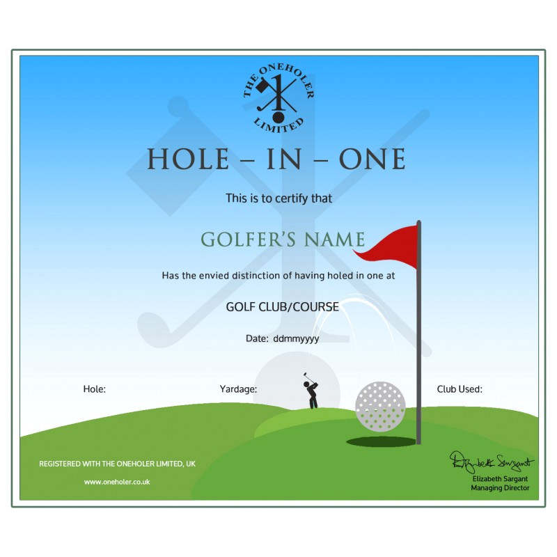 hole in one golf certificate