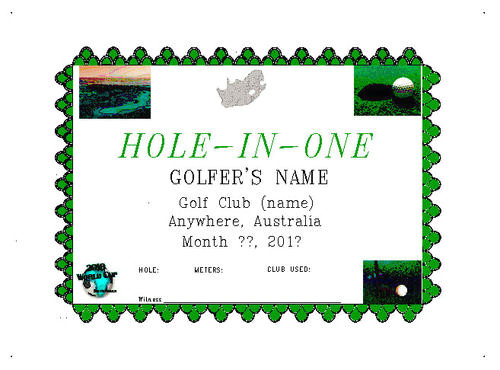 Free Hole In One Certificate Template Posters Personalized Award Certificate 216 X 279
