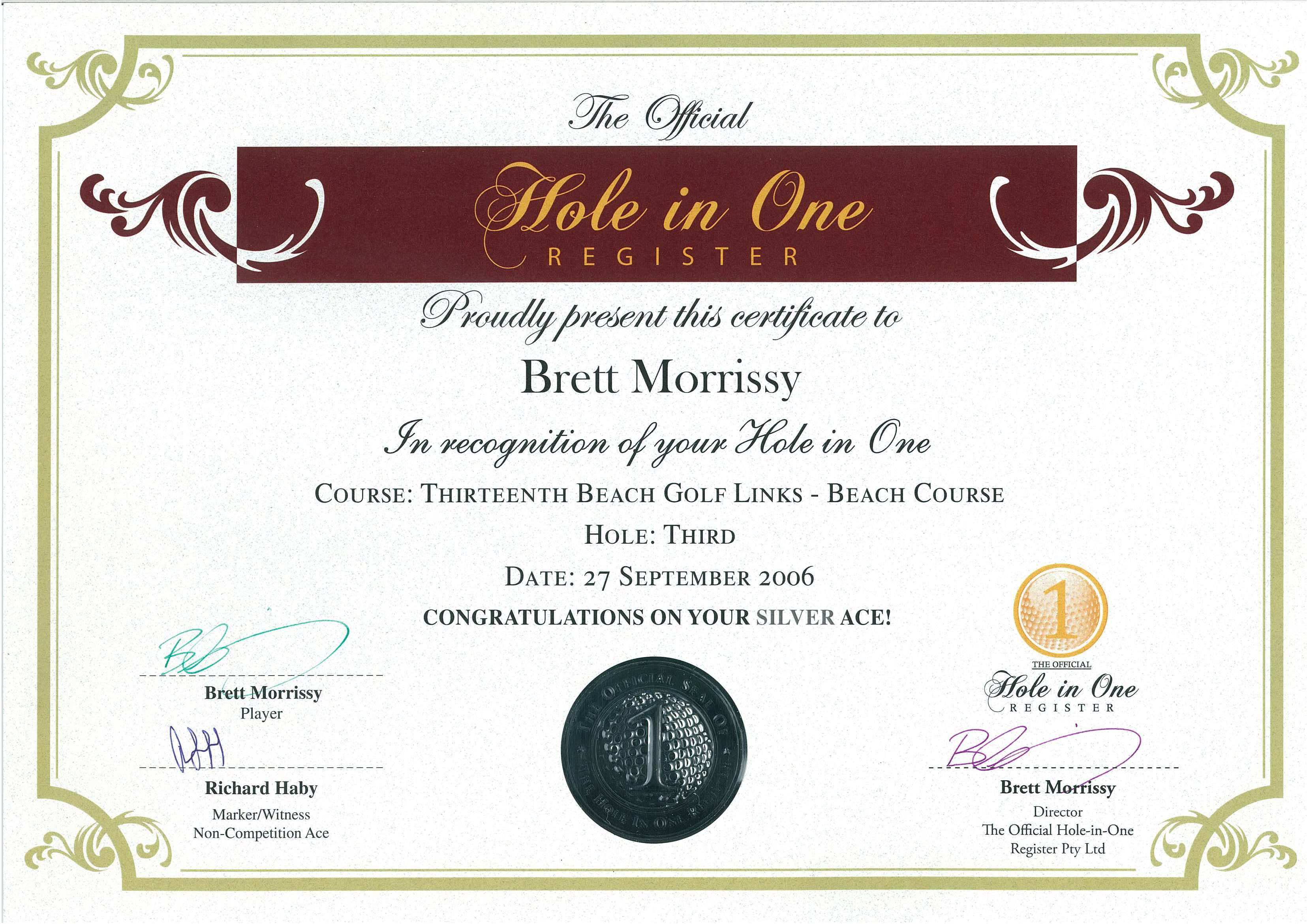 official hole in one gift certificate