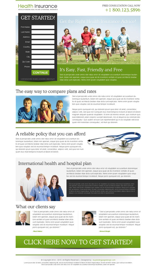 Free Lead Capture Page Templates Converting Insurance Lead Generation Landing Page Design