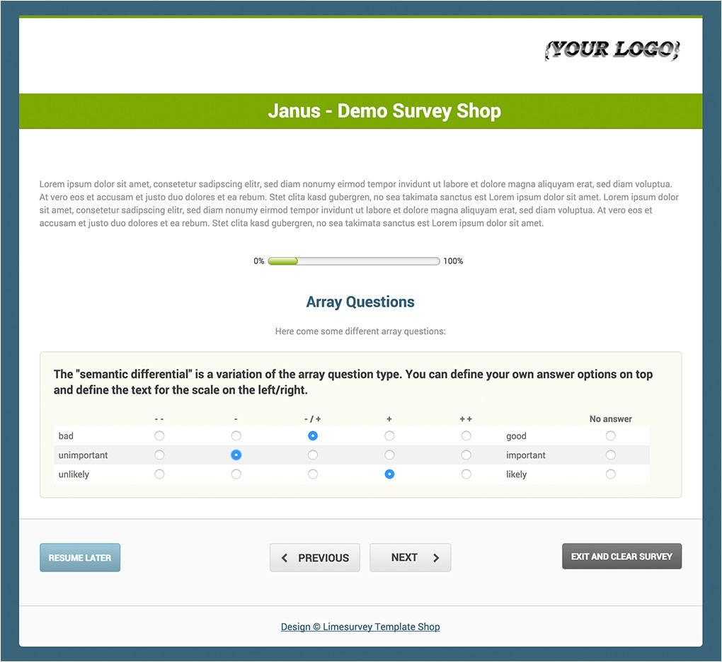 limesurvey template shop