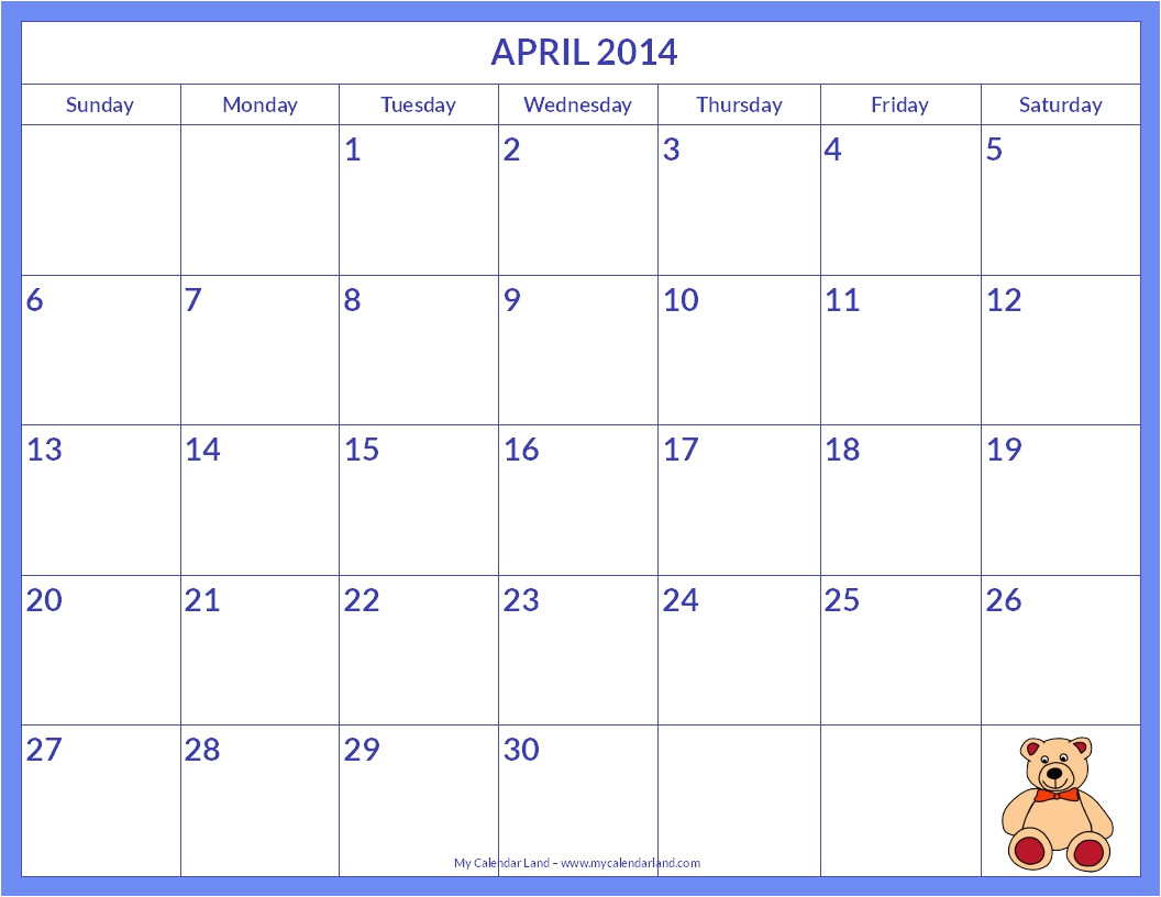 printable monthly calendar templates free printable 2014