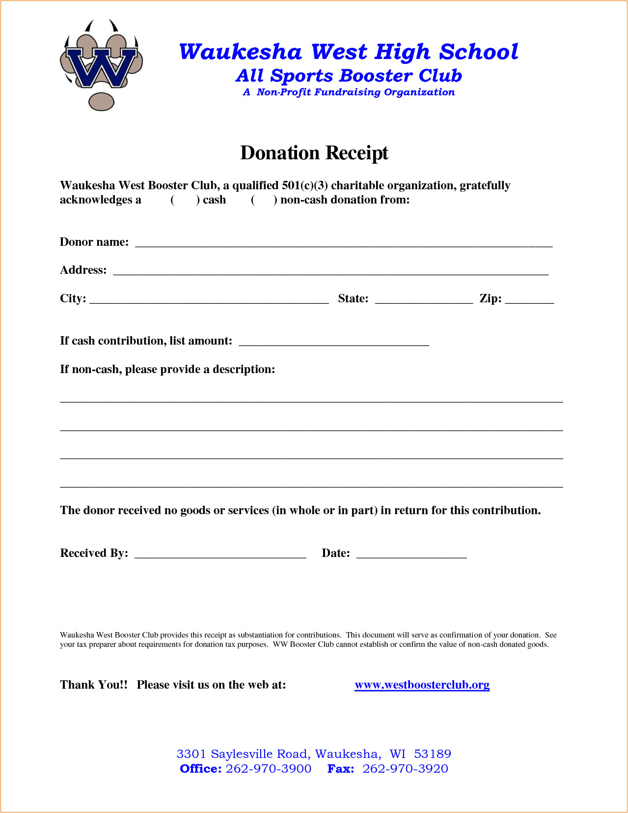 4 non profit donation receipt template