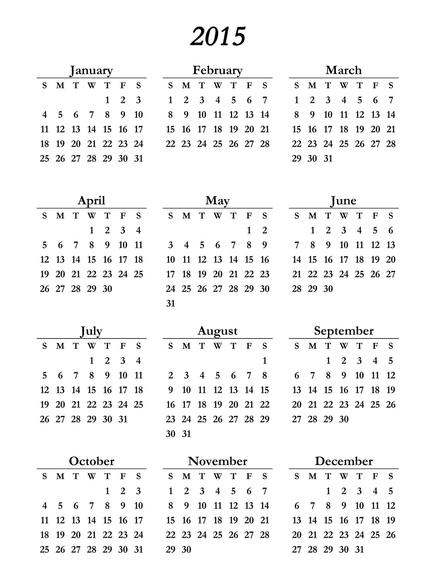 2015 calendar printable 1292