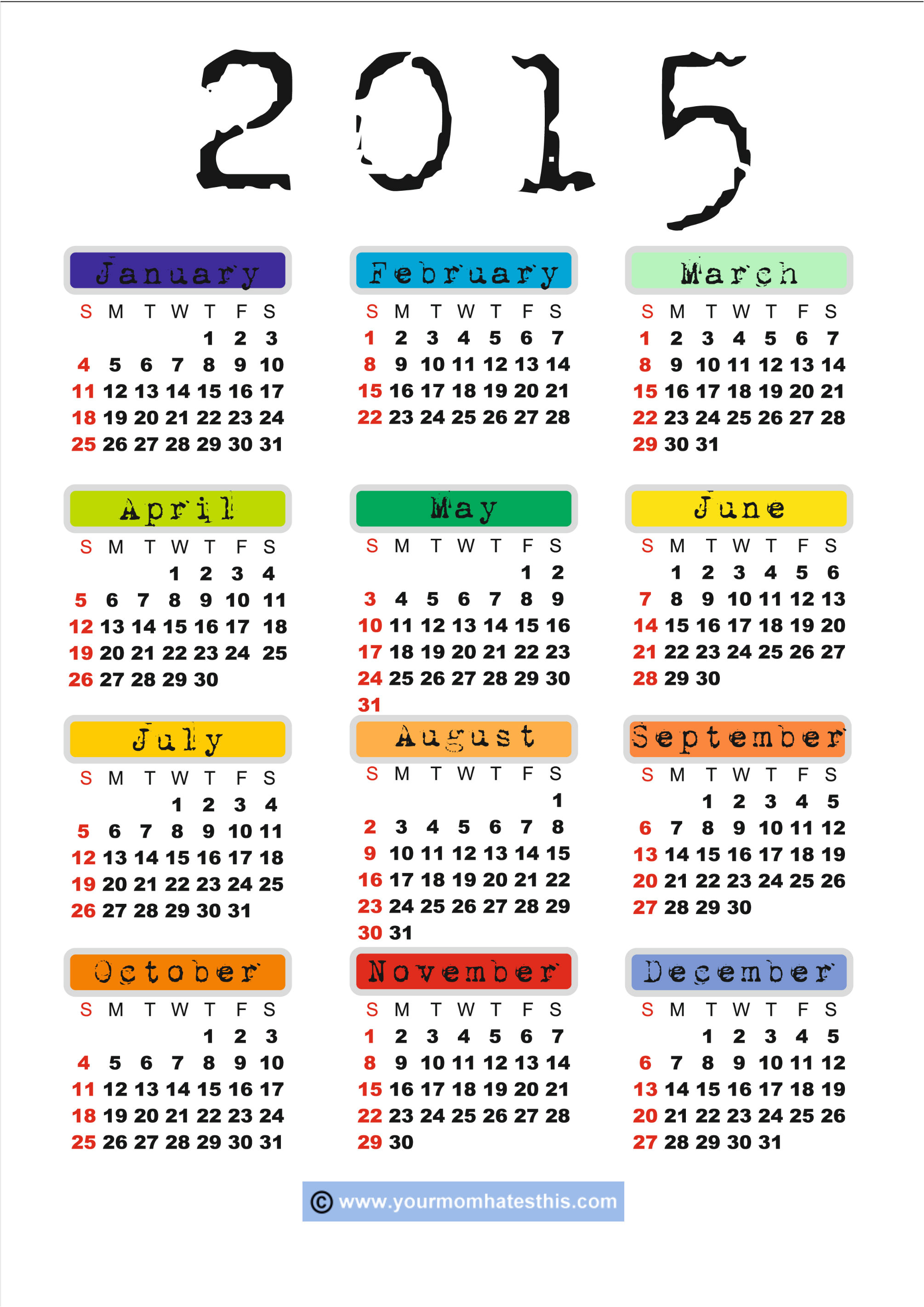Free Online Calendar Template 2015 2015 Calendar Printable Free Large Images