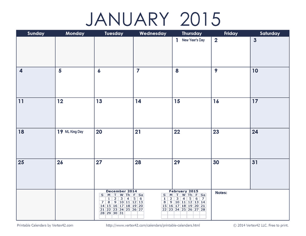 free printable monthly calendars 2015