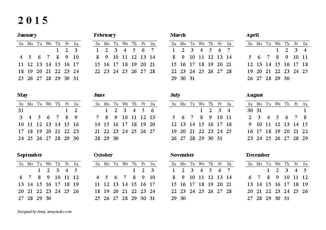 printable calendar free 2015
