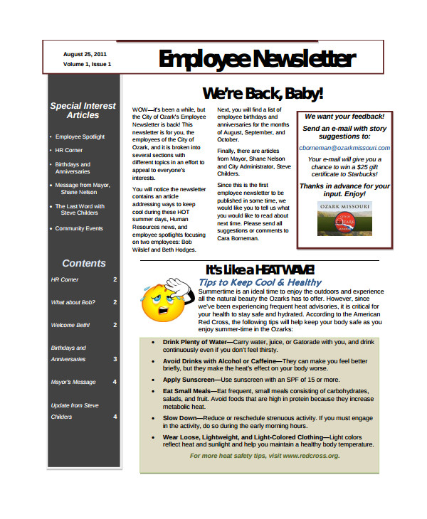 Free Online Newsletter Templates Pdf 10 Employee Newsletter Templates Sample Templates